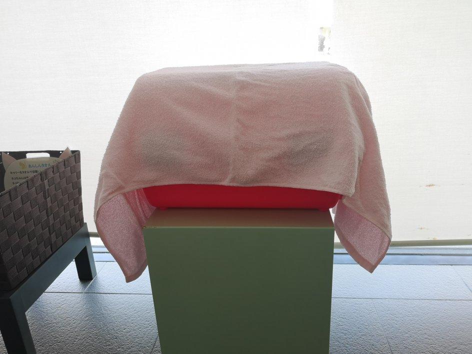 キャリーと台とタオル